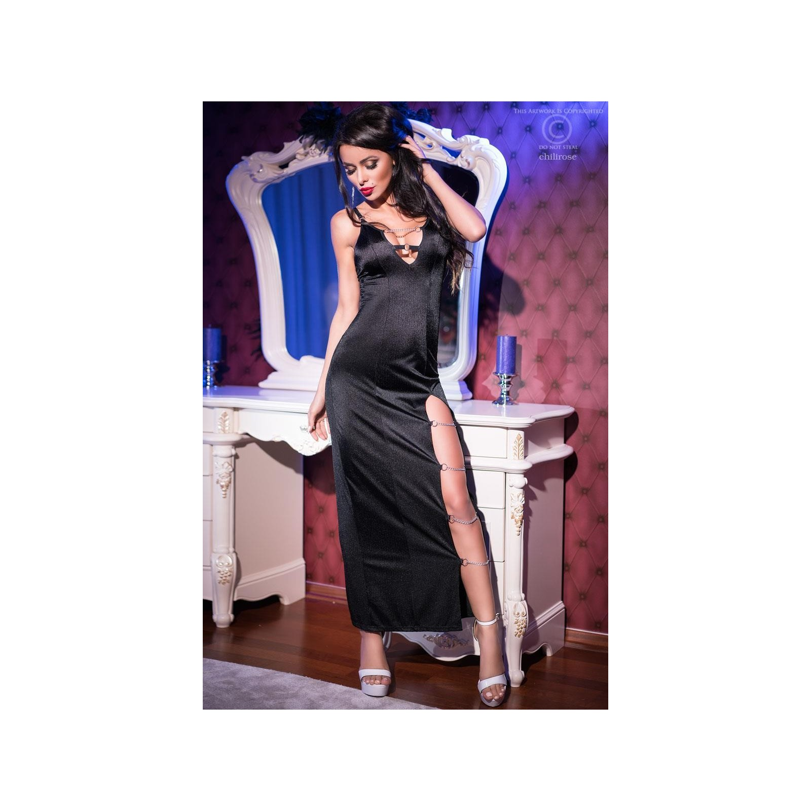 Langes Kleid CR4164 schwarz - 4 - Vorschaubild