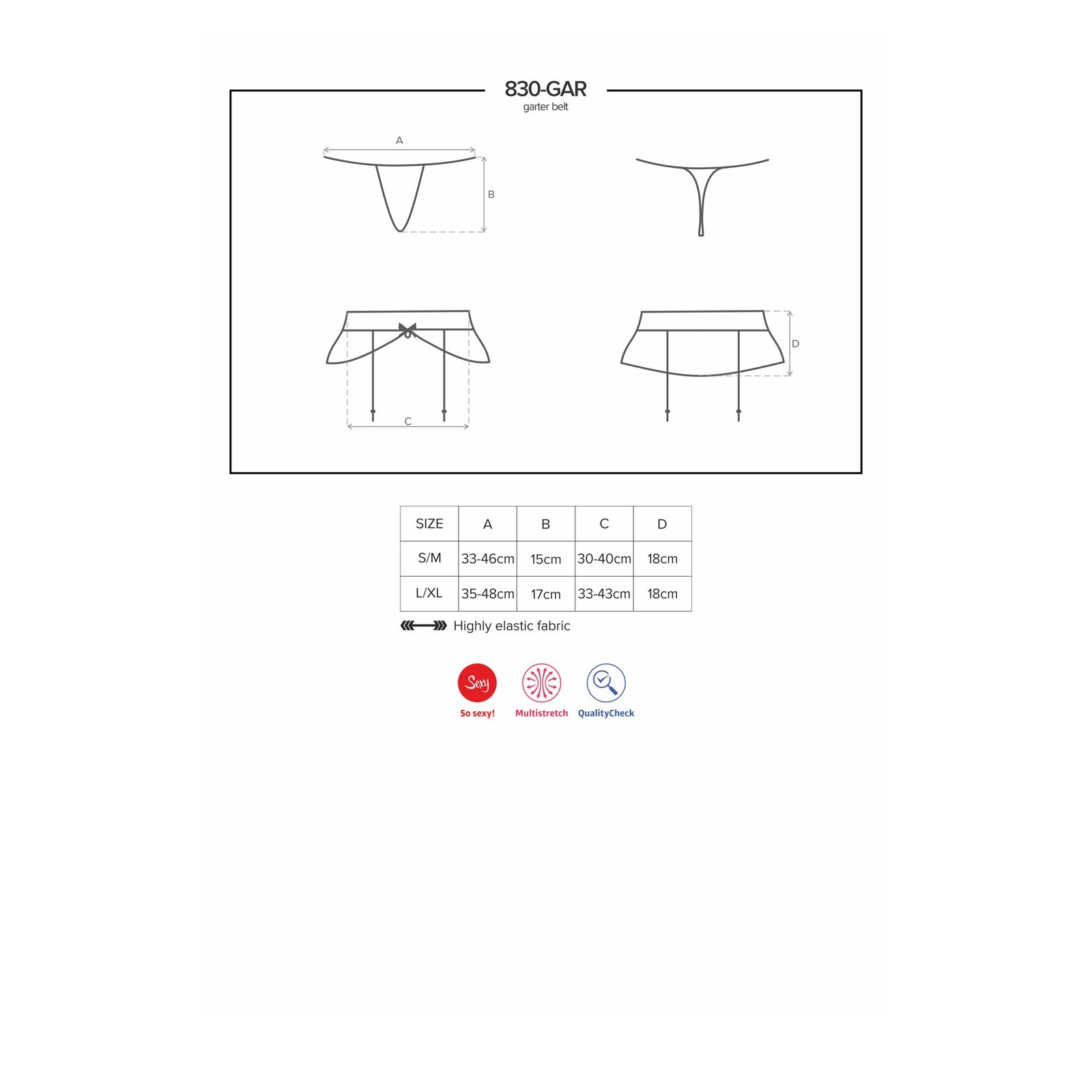 830-GAR-1 Garter Belt schwarz - 7 - Vorschaubild