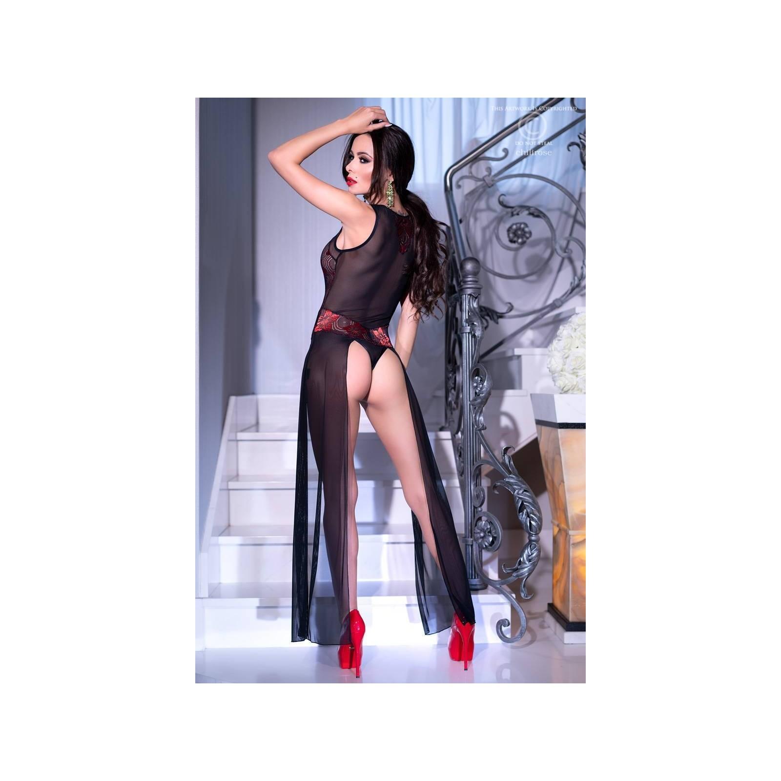 Langes Kleid CR4250 schwarz/rot - 2 - Vorschaubild