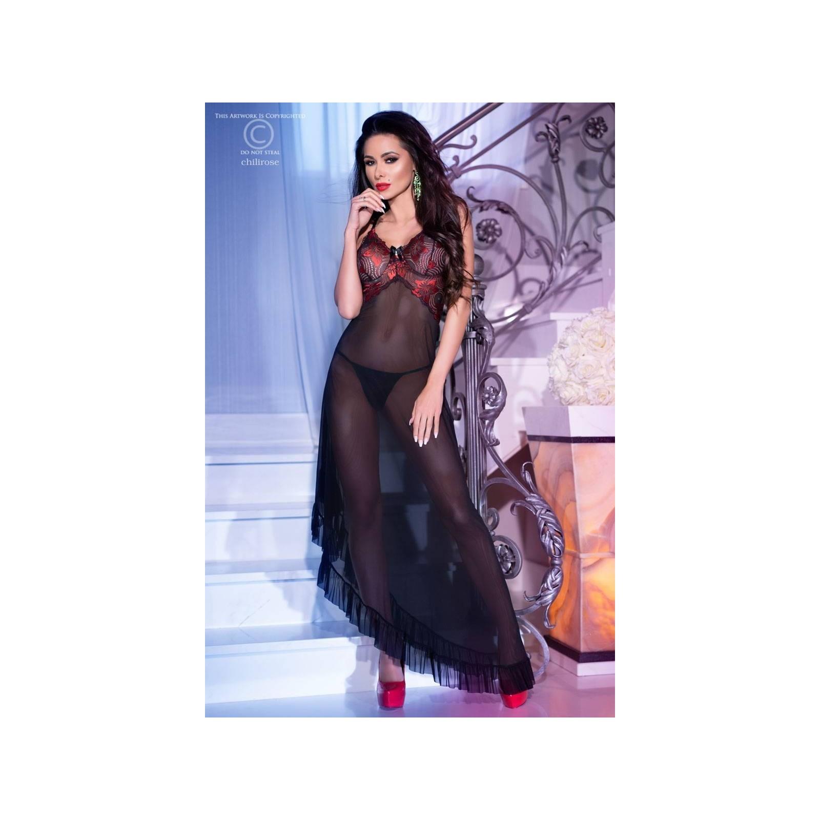 Langes Kleid CR4251 schwarz/rot - 3 - Vorschaubild