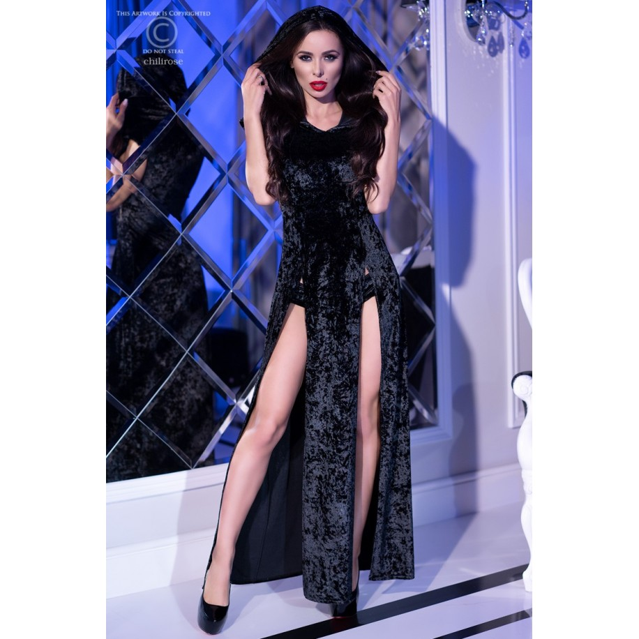 Kleid mit Kapuze CR4302 schwarz - 1