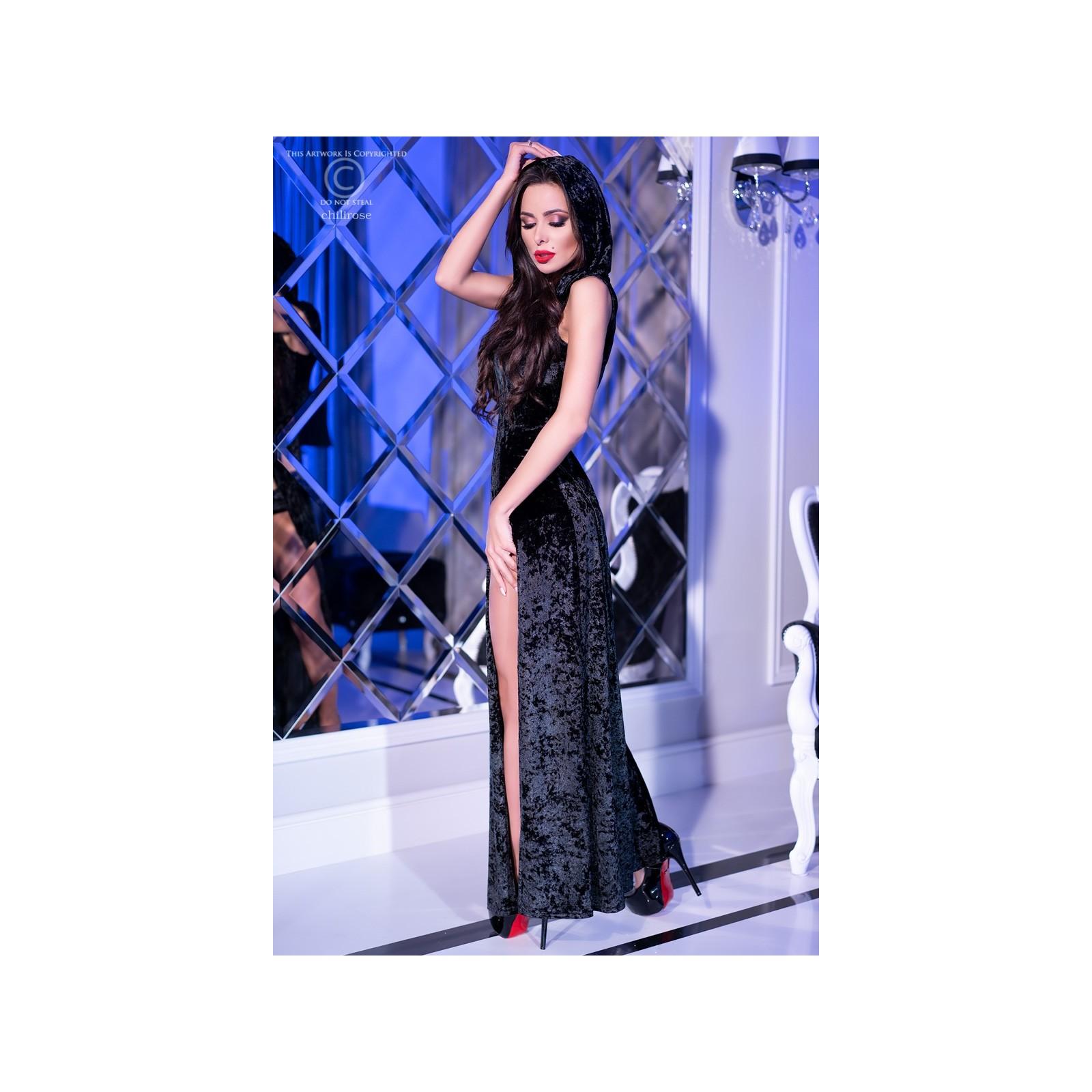 Kleid mit Kapuze CR4302 schwarz - 4 - Vorschaubild