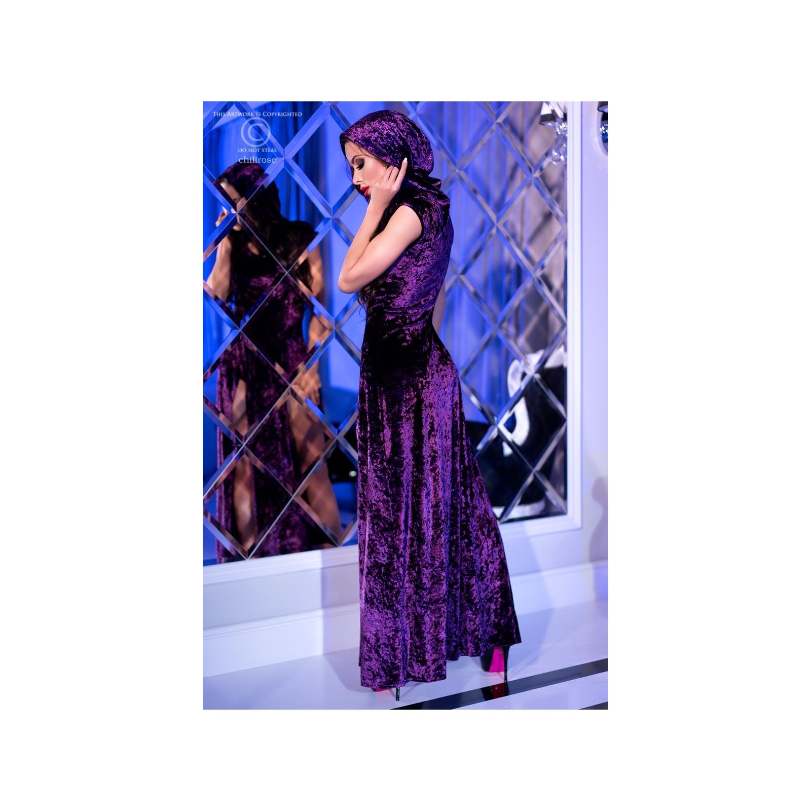 Kleid mit Kapuze CR4302 violett - 4 - Vorschaubild