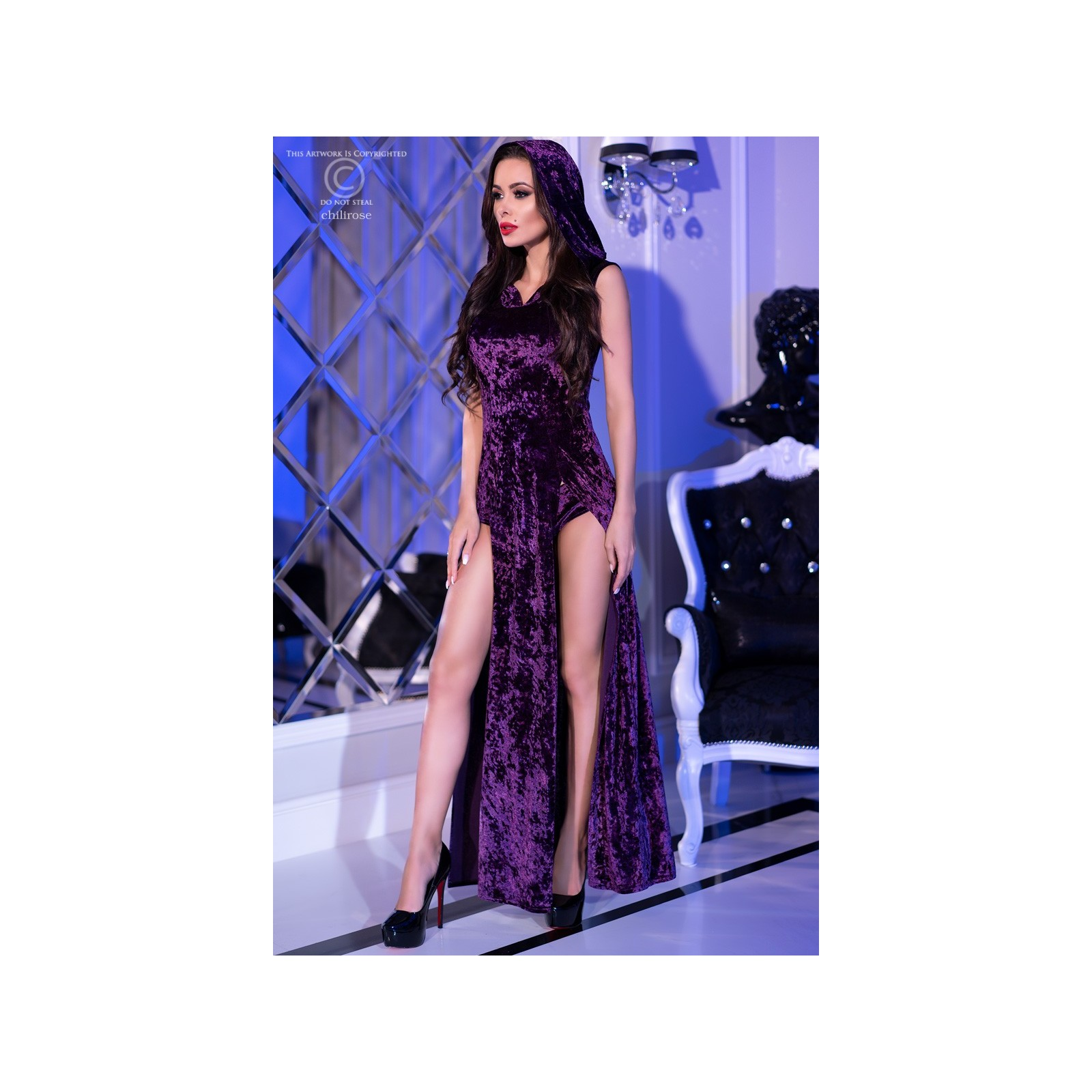 Kleid mit Kapuze CR4302 violett - 5 - Vorschaubild