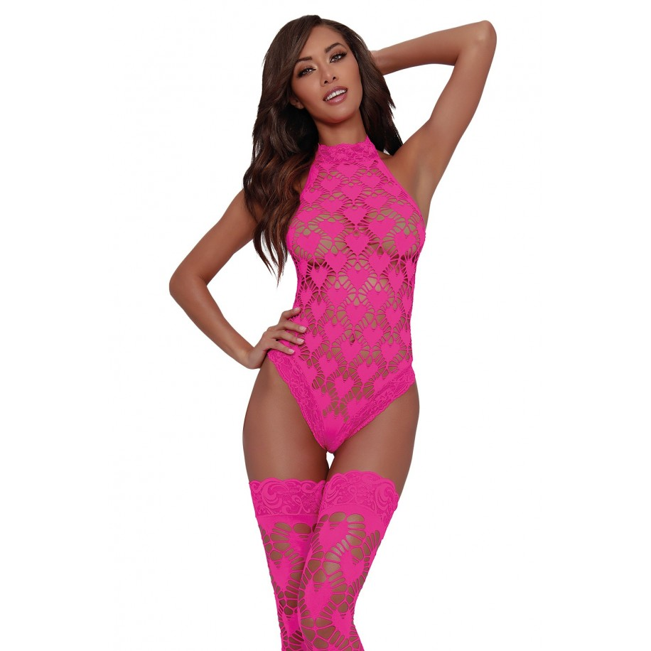 Body + Stockings DR11784 hot pink - 1