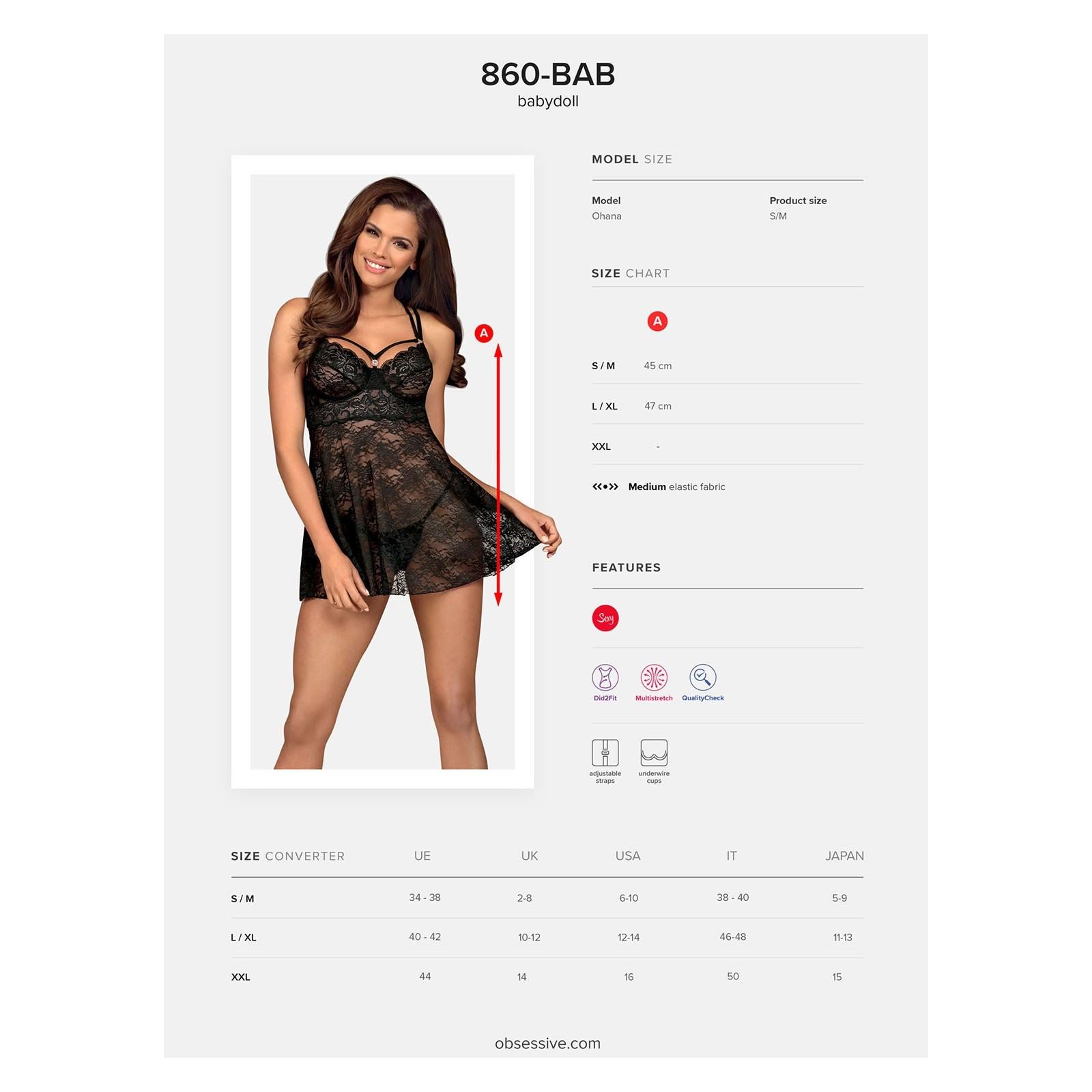 860-BAB-1 Babydoll schwarz - 7 - Vorschaubild