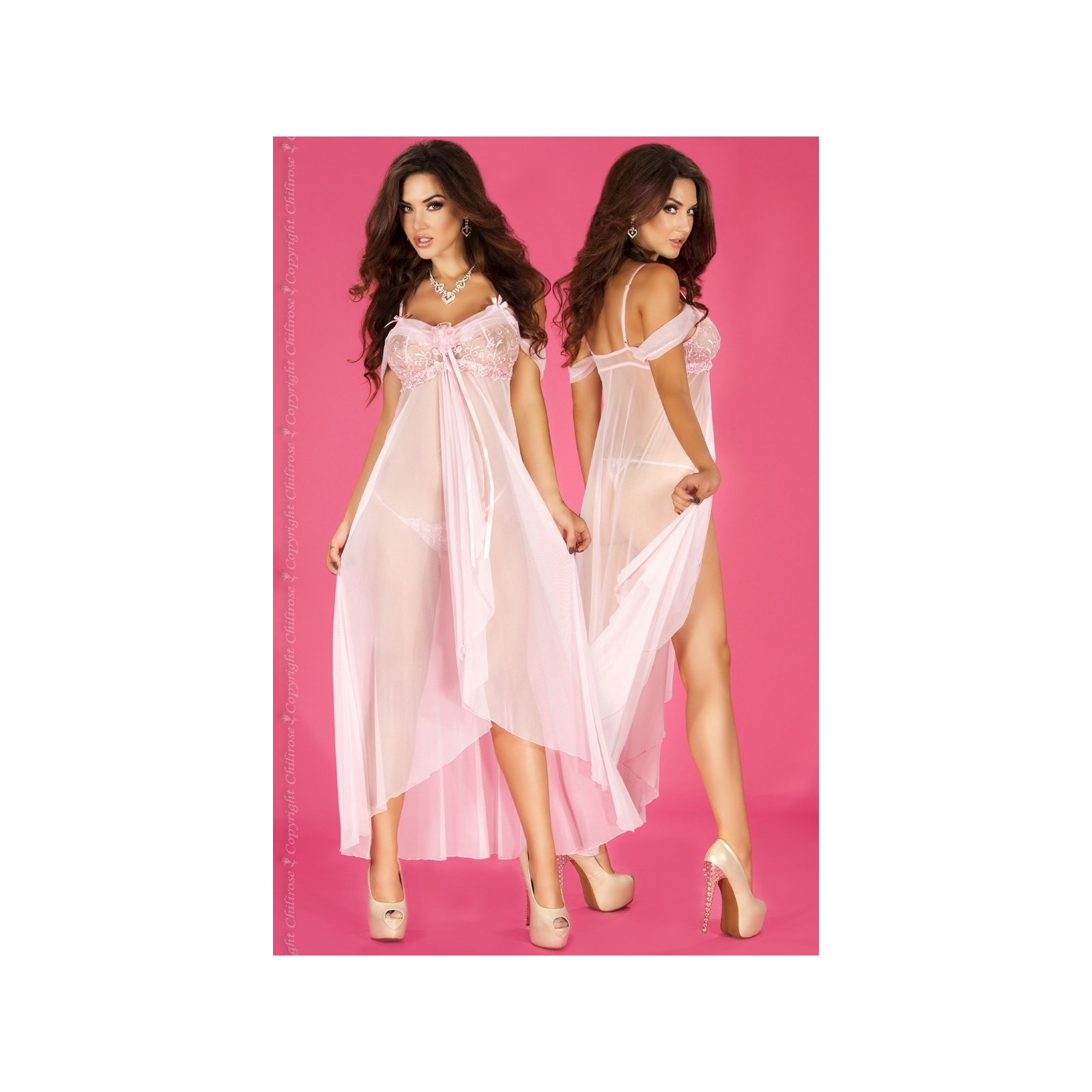 Langes Babydoll CR3716 pink - 3 - Vorschaubild