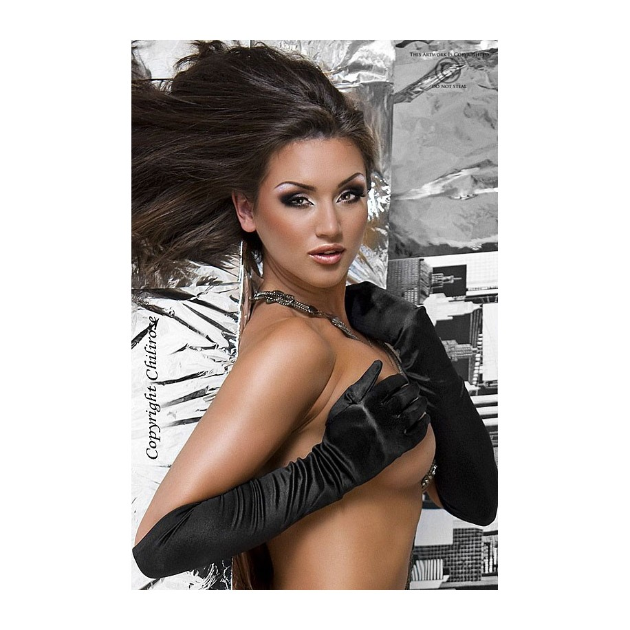 Satin-Handschuhe schwarz CR3192 - 1