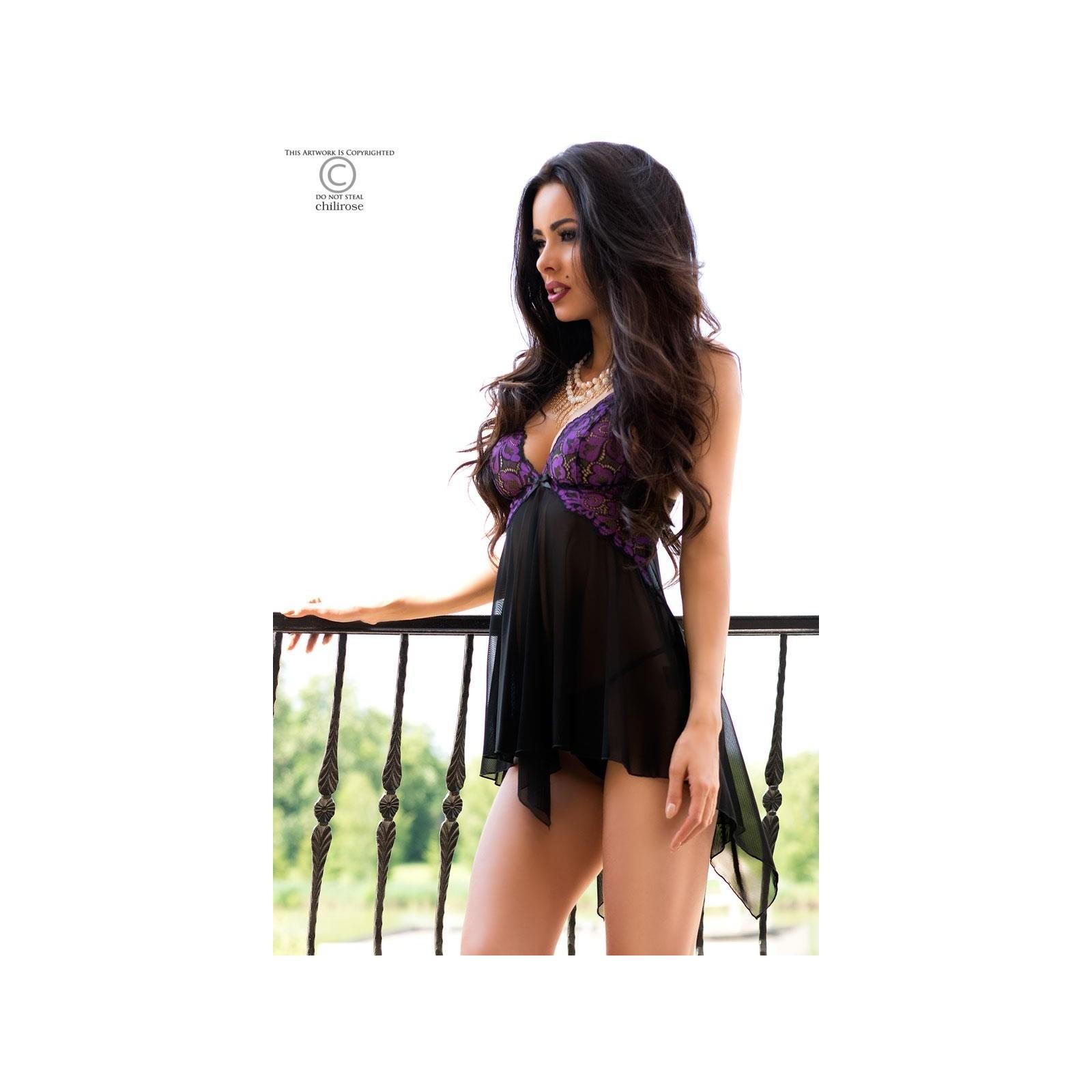 Babydoll CR4074 schwarz/violett - 5 - Vorschaubild