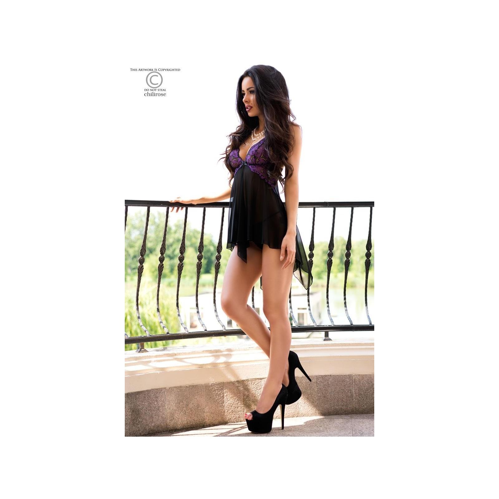 Babydoll CR4074 schwarz/violett - 6 - Vorschaubild