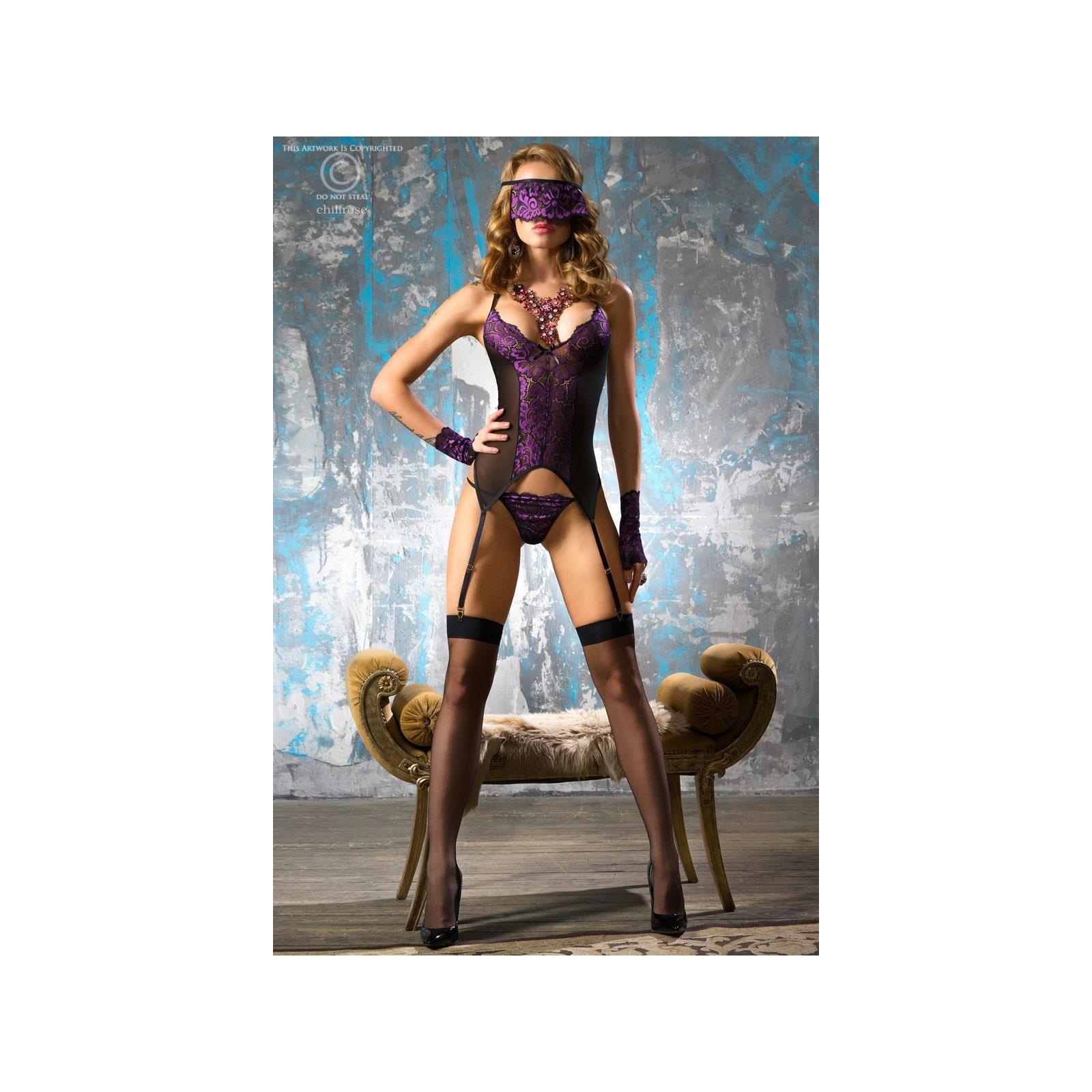 Corsagen-Set schwarz/violett CR4077 - 3 - Vorschaubild